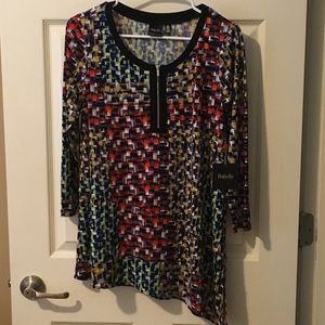 NWT Rafaella Multi Colored Zipper Blouse Size S